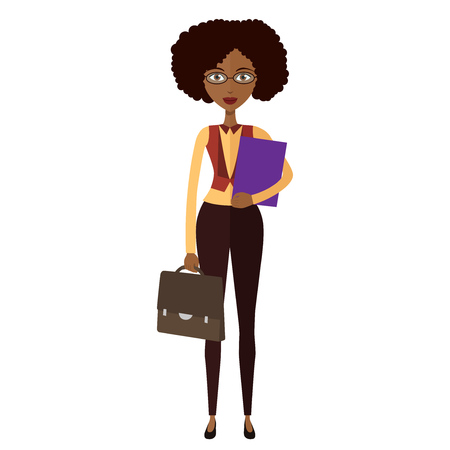 Spectacled African american  business woman. Banker.Bespectacled business-lady ready for work flat cartoon vector illustration. Eps10. Isolated on a white background.