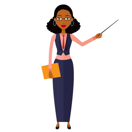 african business: African teacher with a pointer. Young African American business woman presenting something. Tutor character. Vector.
