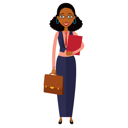 Banker.Spectacled African american  business woman. Bespectacled business-woman ready for work flat cartoon vector illustration. Eps10. Isolated on a white background.