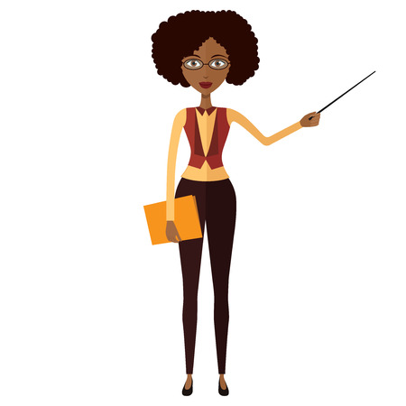 African teacher with a pointer. Young African American business woman presenting something. Tutor character. Vector.