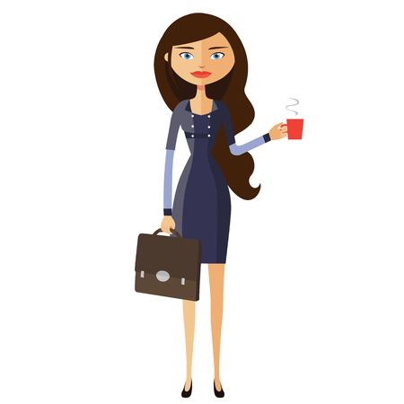 happy business woman standing and drinking coffee vector cartoon Vector Illustration