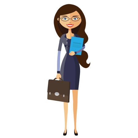 confidant: Flat business spectacled woman. Bespectacled young girl standing.  Vector.