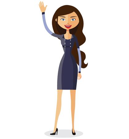 Business woman waving her hand vector flat cartoon