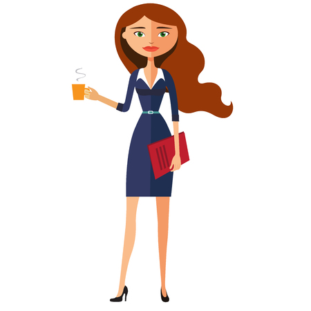 Illustration of a beautiful business woman holding a cup. Vector flat cartoon illustration.