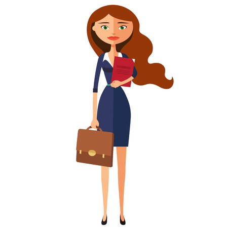 Business lady. Office worker is ready to work.Woman secretary. Vector flat cartoon illustration. Illustration