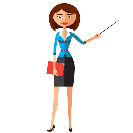 Business lady with a pointer. Youngs woman presenting something. Tutor character.