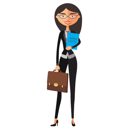 Stock vector cartoon illustration flat business spectacled  secretary. Bespectacled manager standing. Illustration