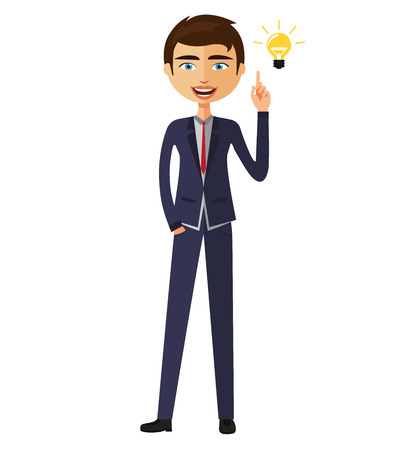 Businessman happy with his bright idea business concept illustration.