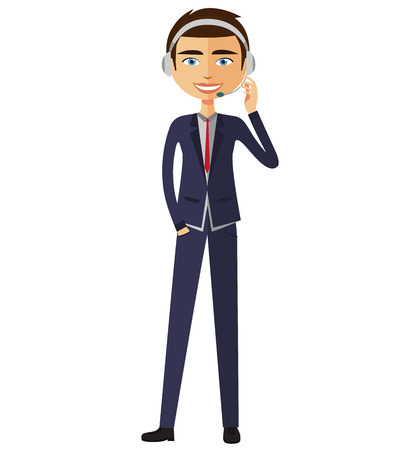 An operator man with headset customer service helpdesk service. Call center concept.