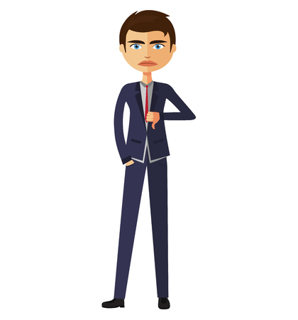 disapprove: Businessman thumbs down. Angry unhappy businessman character vector flat cartoon illustration