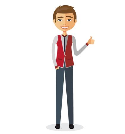 Blij jonge zakenman die duim toont.
