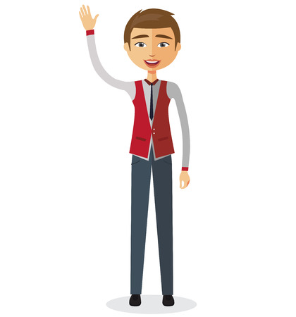 Cheerful young businessman waving her hand vector flat cartoon illustration. Imagens - 77413477