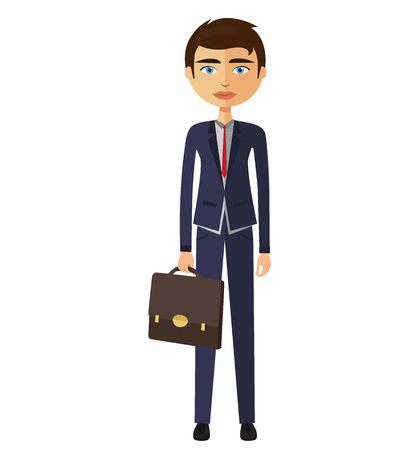 Young businessman with crossed arms vector illustration Illustration
