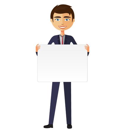 Businessman holding white blank poster vector illustration.