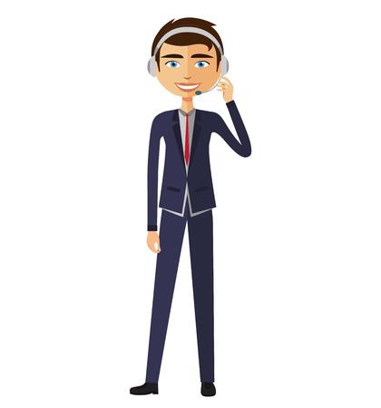 Customer service call center operator on duty .Man customer service vector illustration.