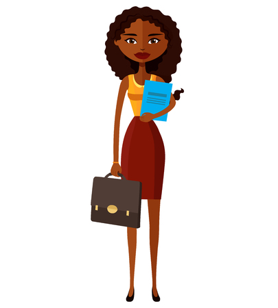 African woman banker or worker lady with briefcase flat cartoon vector illustration Illustration