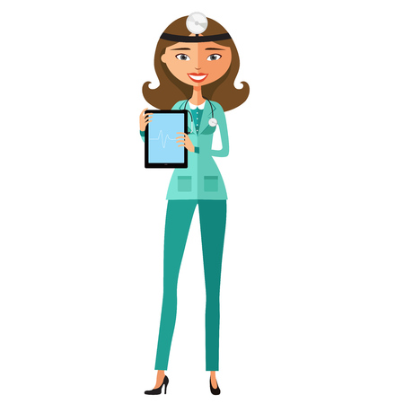 Doctor showing something important on the tablet vector cartoon illustration.
