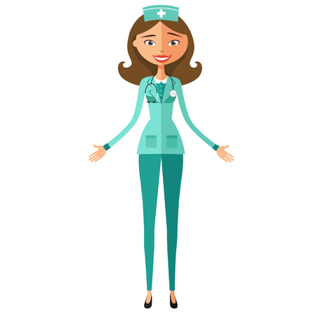 Shocked young doctor. Surprised nurse woman. Extremely excited dentist lady. Astonished mid aged girl. Emotional woman character. Illustration