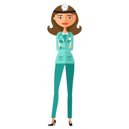 Doctor woman in medical gown with stethoscope