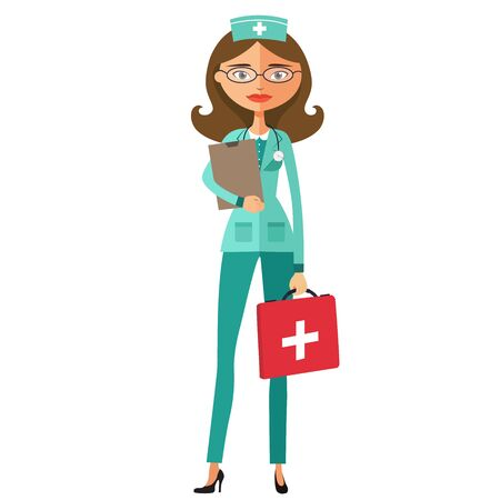 Smiling doctor wearing glasses with a stethoscope flat cartoon vector illustration Illustration