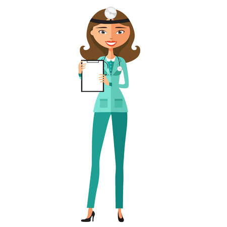 Female doctor holding a clipboard  flat cartoon vector illustration Illustration