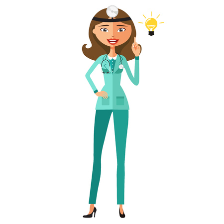 Young doctor happy with his bright idea flat cartoon vector illustration Illustration