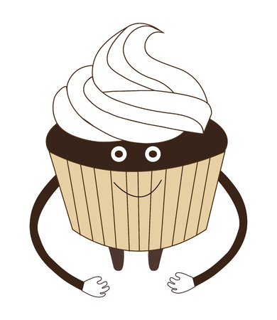 Vector illustration of funny cupcake with cream cartoon isolated on white background