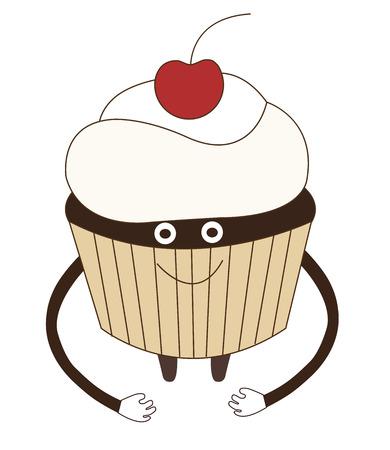 Happy  cherry cupcake vector illustration cartoon isolated on white background Illustration