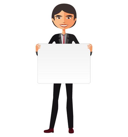Business asian man holding white blank poster vector illustration.
