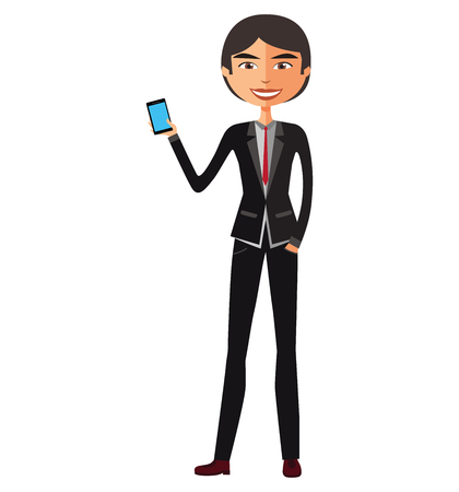 asian business: Asian business man talking the phone vector isolated