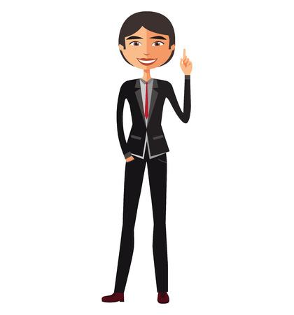 Asiatischer Geschäftsmann glücklich mit seiner Geschäftskonzeptillustration der guten Idee.