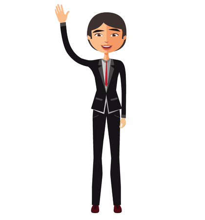 Young asian business man waving her hand vector Illustration