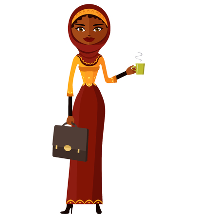 Arab business woman with a cup of tea and teapot vector flat cartoon illustration.