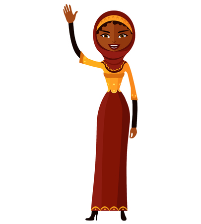 Arab muslin cheerful young girl waving her hand isolated on white background vector illustration