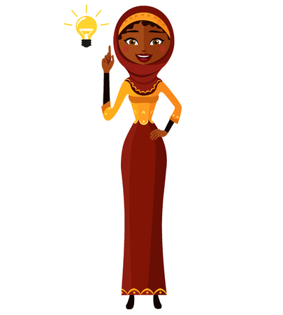 Arab muslim kuwait persian Business woman happy with his bright idea business concept illustration.