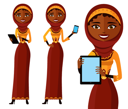 Happy arab woman character with tablet. Pleasantly smiling muslim business girl.