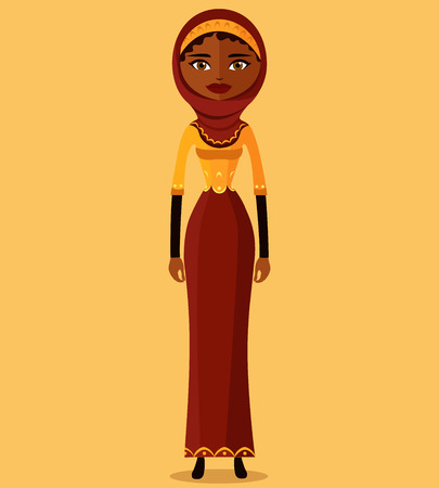 Muslim arab iran business woman vector flat illustration isolated Illustration