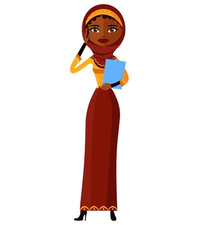 yemen: Young arab muslim iran business woman talking the phone flat cartoon vector illustration isolated Illustration