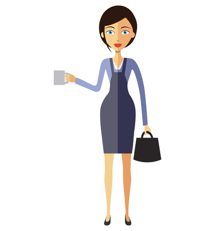 caffe: Business woman lady with a cup of tea and teapot vector flat cartoon illustration.