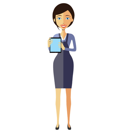 Business flat woman lady showing something important on the tablet vector cartoon illustration.