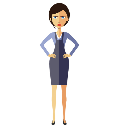disapprove: Angry unhappy business woman lady thumbs down vector flat cartoon illustration Illustration