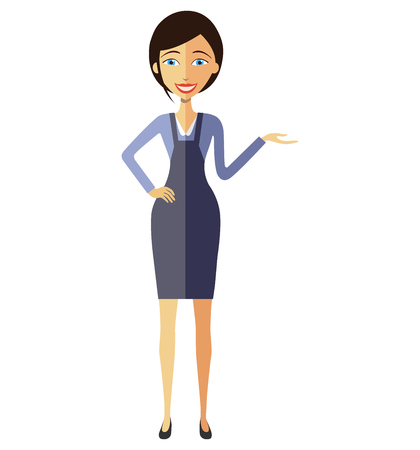 Businesswoman lady presents something vector flat cartoon illustration.