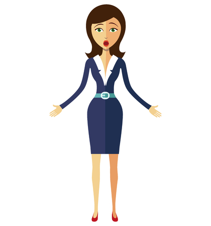 panicked: Surprised flat business woman emotional character concept flat cartoon vector illustration
