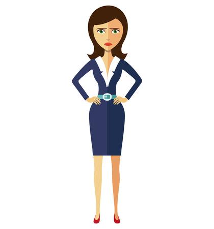 Angry unhappy flat cartoon office business woman thumbs down vector flat cartoon illustration