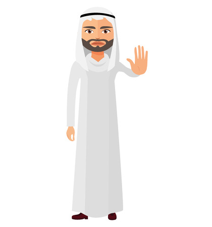 Arab business man showing stop gesture with hand flat cartoon vector Illustration Illustration