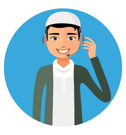 Arab yemen operator man with headset customer service helpdesk service. Call center concept  flat cartoon vector illustration Illustration