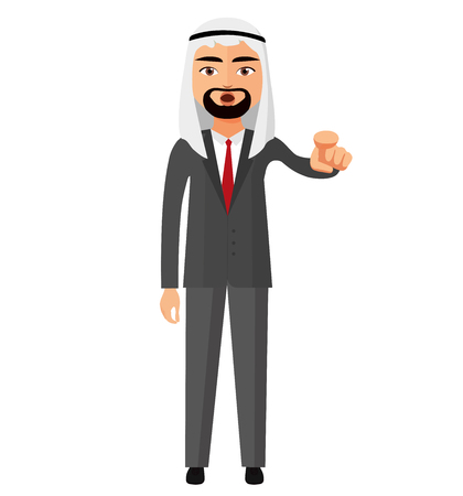 Arab iran business man motivation flat cartoon vector illustration Illustration
