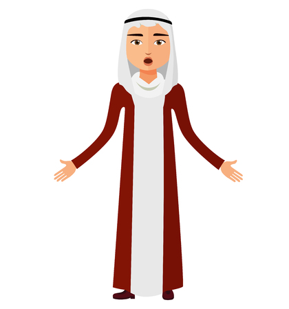 Surprised arab saudi business man flat cartoon. Shocked muslim businessman. Extremely excited iran man. Astonished egypt man. Emotional kuwait man character. Vector Illustration