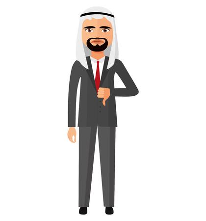 disapprove: arab emirates angry  business man character vector flat cartoon illustration Illustration