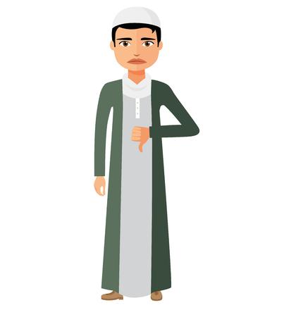 disapprove: Muslim arab angry unhappy businessman character vector flat cartoon illustration